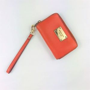 Michael Kors Orange Wristlet Zip Wallet OBO